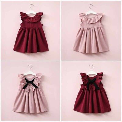 Toddler Kid Girls Ruffle Bow Tie Lace Short Dress Princess Backless Casual Skirt