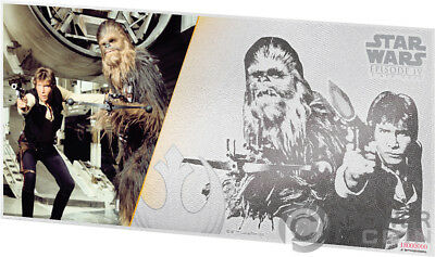 HAN SOLO AND CHEWBACCA Star Wars New Hope Foil Silver Note 1$ Niue 2018