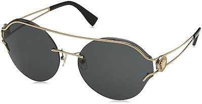914733f007 Authentic VERSACE Round Sunglasses VE 2184 125287 61mm Pale Gold Grey Lens