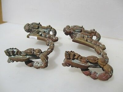 Georgian Brass Curtain Tie Backs Hooks Gilt Wreath Husks Drape Victorian Antique