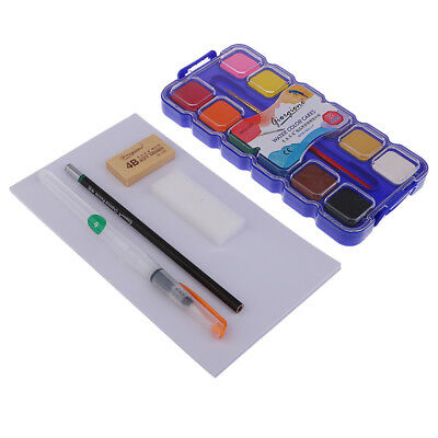 25 Set Watercolor Pan Palette Kits for Artist Painting with Brush / Papers