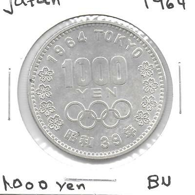 Japan 1964 1000 Yen Olympic Silver Commemorative Coin BU