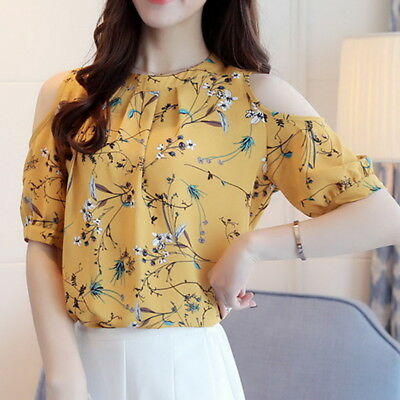Summer Fashion Womens Chiffon Blouse Floral Off Shoulder T-Shirt Base Tee Tops