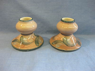 Pair Jersey Pottery Candleholders ~ Squat ~ Retro Candle Holders