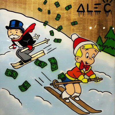 Alec Monopoly Oil Painting on Canvas Graffiti art Richie Rich Ski 28x28""