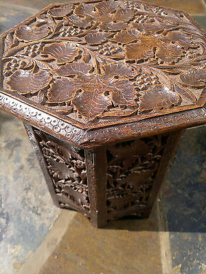 "Antique Anglo Indian Carved Octagonal Folding Side Table -12"" top 12.5"" tall"