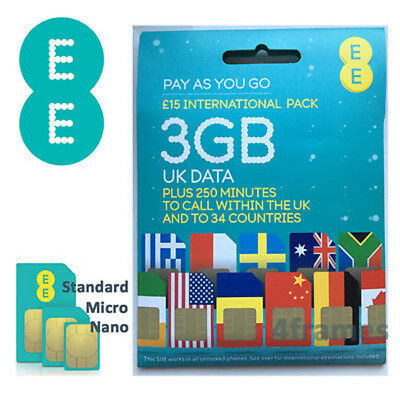EE International pack Sim Card Pay As You Go Mini, Micro & Nano UK