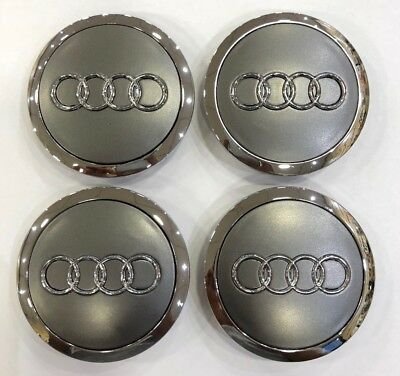 4X AUDI GREY & CHROME 68mm ALLOY WHEEL CENTRE CAPS  A3 A4 A5 A6 TT RS4 Q5 Q7
