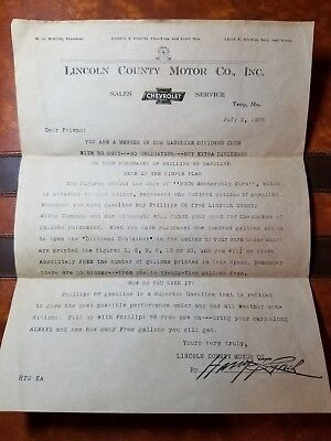 Rare Vintage 1936 Letter Lincoln County Motor Co - Phillips 66 - Troy Missouri