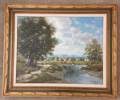 WILLIAM HARISCH Original Oil on Canvas Landscape Painting Signed and Dated 1974