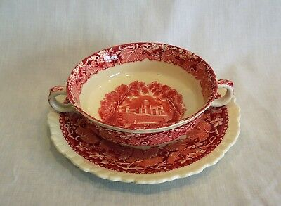 Vintage Masons Pink Red Vista Ironstone Flat Cream Soup Bowl and Saucer
