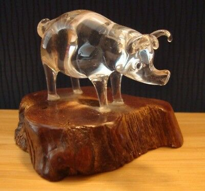 Crystal Glass Art Pig by Mary Gretchen Schmidt