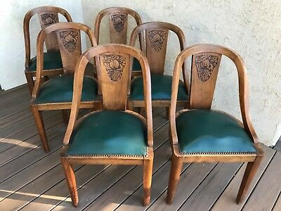 Antique Hand-Carved French Dining Chairs Set of Six