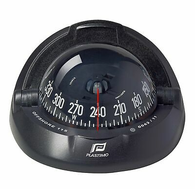 Offshore 115 Powerboat Compass - Flush Mount, Black, Conical