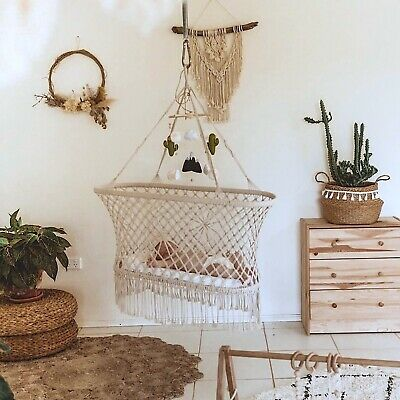 Bohemian Macrame Baby Bassinet Crib Darling Hammock Bed - Indie White Cotton NEW
