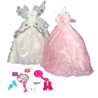 2pcs Beautiful Handmade Party Gown Fashion Dress w. Accs for Barbie Doll
