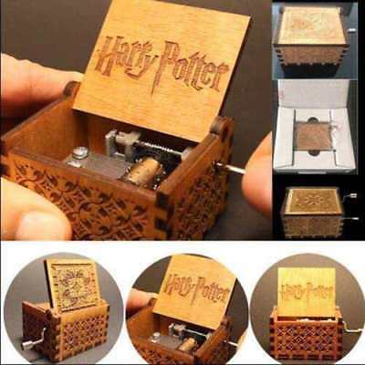 Vintage Handmade Engraved Wooden Harry Potter Music Box Christmas Craft Toy Gift