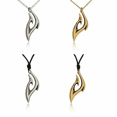 Lovely Maori Tribal Hook Silver Pewter Gold Brass Charm Necklace Pendant Jewelry