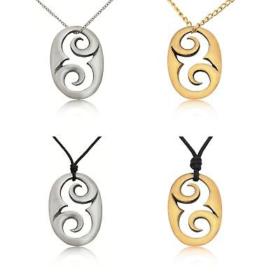 Tribal Maori Oval Abstract Silver Pewter Gold Brass Necklace Pendant Jewelry
