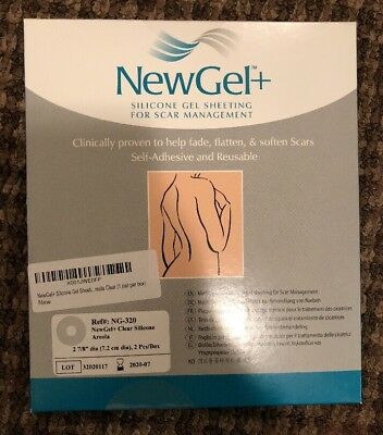 NewGel+ Silicone Gel Sheeting 2 7/8 Areola Circles For Scars Clear. OPEN BOX