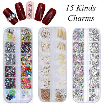3D Nail Art Ongles Strass Rivets Résine Glitter Cristal Tips Manucure Décoration