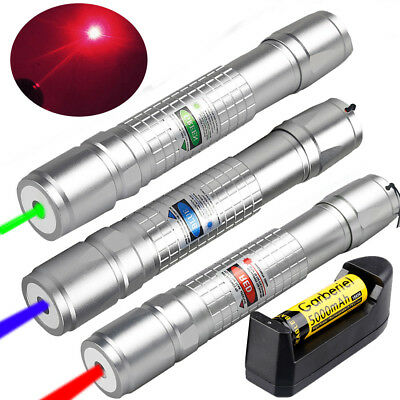 Military 20Mile Zoom Green&Red&Blue Laser Pointer Pen Visible Beam+18650&Charger