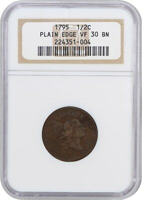 1795 1/2c NGC VF30 BN (No Pole, Plain Edge) Great, Early Type Coin - Half Cent