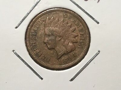 "1894 US ""Indian Head"" one cent coin.  124 year old coin."