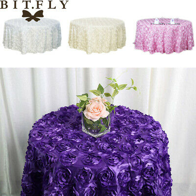 47/120 Inch 3D Rosette Satin Fabric Tablecloth Round Wedding Table Cover Banquet