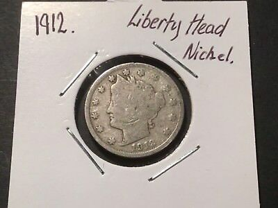 1912 US Liberty Head nickel. 106 year old coin.
