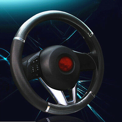 Luxury Auto Car 38cm Black Steering Wheel Cover Carbon Fiber Leather Pattern New