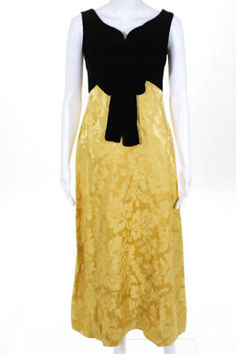 Lord Taylor Vintage Black Velvet Yellow Floral Print Evening Gown