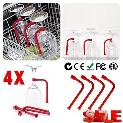 1/4X Stemware Saver Flexible Dishwasher For Safer Wine Glasses Holder HOT ORO