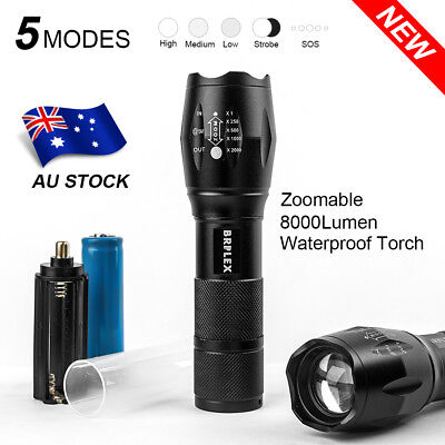 Military 1000LM XM-L T6 LED Rechargeable Flashlight Zoomable Hunting Torch AU