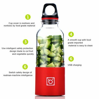 500ML Portable Electric Juicer Cup USB Rechargeable Automatic Juice Maker RO