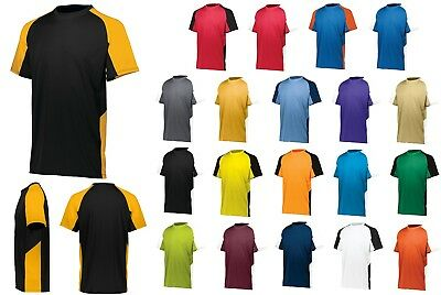 MEN/'S CREW NECK TWO COLOR SHORT SLEEVE S-3XL WICKING PERFORMANCE T-SHIRT