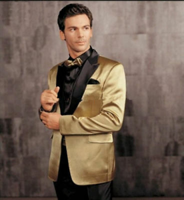 New Men's Golden Blazers Wedding Suits Formal Evening Party Tuxedos Morning Suit