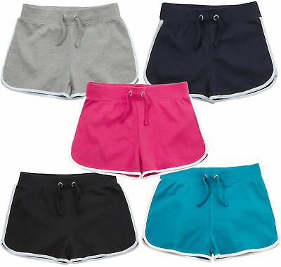 Girls New Cotton Plain Summer Jersey Shorts 7-13 Years Black Navy Grey Pink Blue