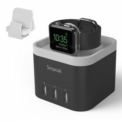 Simpeak 4 Port USB Charger Stand for Apple Watch 1/2/3 black [Nightstand Mode]