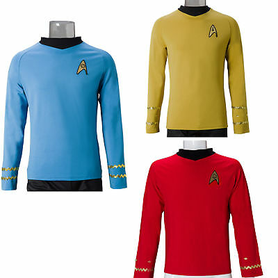 Star Trek TOS Costume Cosplay Captain Kirk Yellow Shirt Spock Blue Red Uniforms