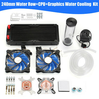 AU PC Water Cooling 240mm Radiator CPU GPU Block Pump Reservoir Heat Sink DIY