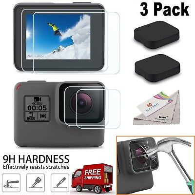 3x GoPro Hero 6 5 4 Black Ultra Clear Tempered Glass Screen And Lens Protector