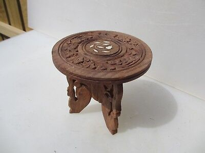 """Small Carved Wooden Table Moroccan Planter Stand Indian Holder Floral   6.25""""W"""