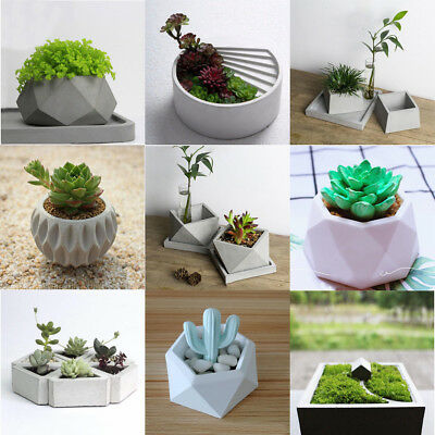 DIY Silicone Concrete Mold Geometric Flower Pots Cement Vase Mould Handmade Tool