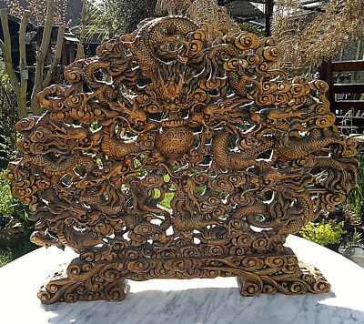 "Large 26"" Vintage Chinese Wood Carved Dynasty 9 Dragon Screen 21"" Tall"
