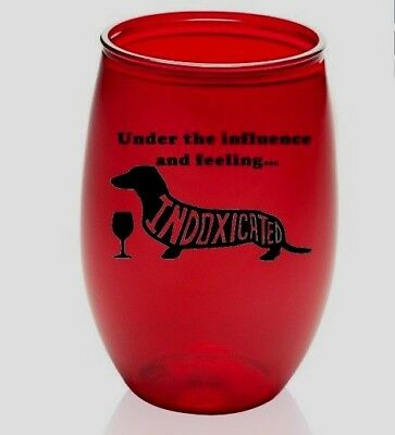 🍷set of 2🍷 Plastic Wine Glass - INDOXICATED - Benefiting Dachshund Rescue