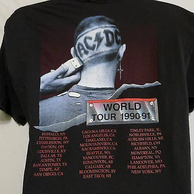 AC/DC Concert T-shirt 1990-91 Back In Black World Tour L Razor Head Brockum USA