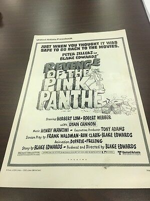 united artists press book revenge of the pink panther