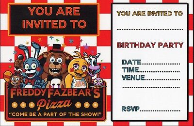 Pack Of 12 FIVE NIGHTS AT FREDDYS Child Personalised Birthday Invitations
