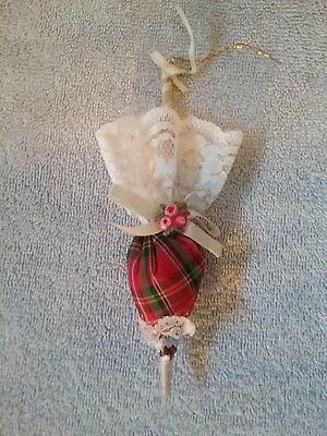 Victorian Style Plaid Ladies Lacey Victorian Unbrella Christmas Ornament